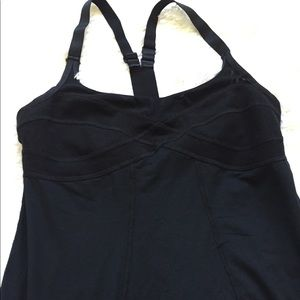 Black Workout Top Mesh Built In Sports Bra NWOT